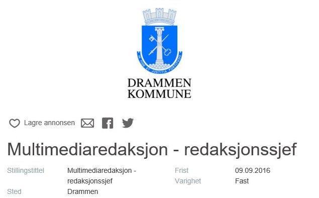 Jobben du definitivt ikke vil ha: Redaksjonssjef i Drammen kommune